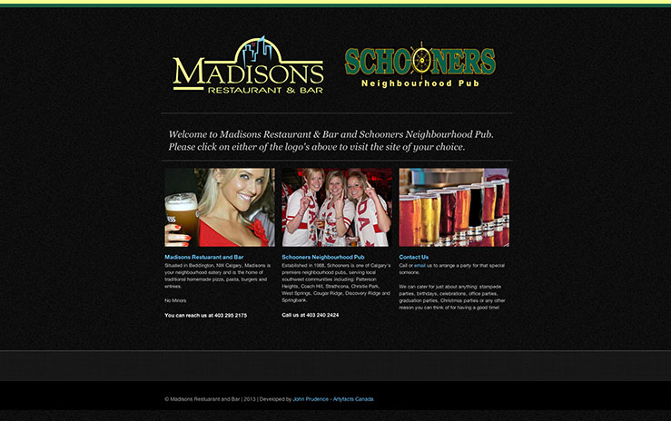 Madisons and Schooners landing page